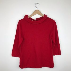 Talbots red collared top